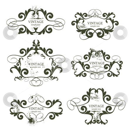 Vintage frames stock vector clipart, Curly grunge vintage frames - vector illustration by Ilyes Laszlo