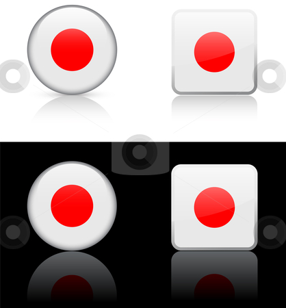 World Flags: Japan stock vector clipart, Original vector World Flags buttons by L Belomlinsky