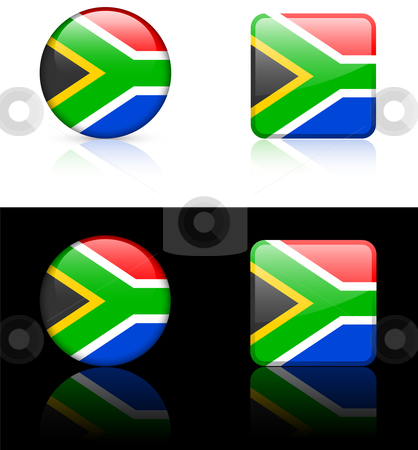 World Flags: South Africa stock vector clipart, Original vector World Flags buttons by L Belomlinsky