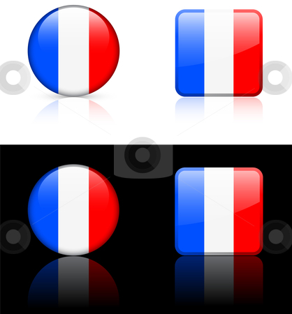 World Flags: France stock vector clipart, Original vector World Flags buttons by L Belomlinsky