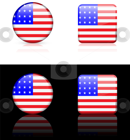 World Flags: United States of America stock vector clipart, Original vector World Flags buttons by L Belomlinsky