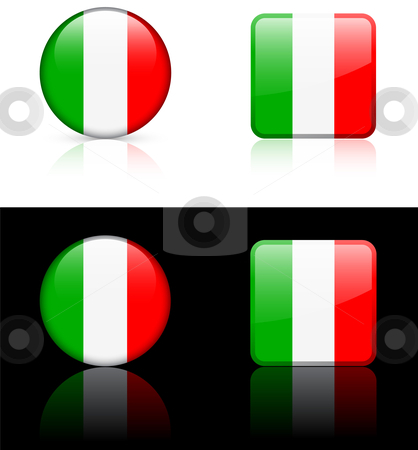 World Flags: Italy stock vector clipart, Original vector World Flags buttons by L Belomlinsky