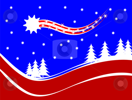 An abstract christmas vector background illustration with a shoo stock vector clipart, An abstract christmas vector background illustration with a shooting star above a christmas tree covered hill by Mike Price
