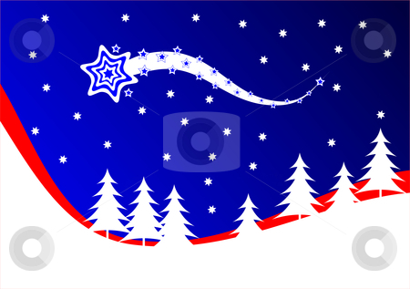 A red and blue Christmas background vector illustration stock vector clipart, A red and blue Christmas background vector illustration with a shooting star above a snow covered hillside with white christmas trees by Mike Price