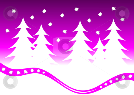 Abstract Purple Christmas Background Illustration stock vector clipart, Abstract Purple Christmas Background Illustration with white christmas trees and a mauve starry sky by Mike Price