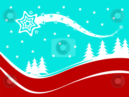 Abstract Christmas Winter Scene stock vector clipart, An abstract christmas vector background illustration with a shooting star above a christmas tree covered hill by Mike Price