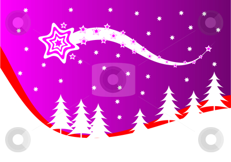 An abstract christmas vector background illustration  stock vector clipart, An abstract christmas vector background illustration with a shooting star above a christmas tree covered hill by Mike Price