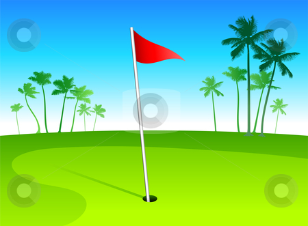 Luxury golf course in tropical vacation spot stock vector clipart, Luxury golf course in tropical vacation spot  Original vector illustration by L Belomlinsky
