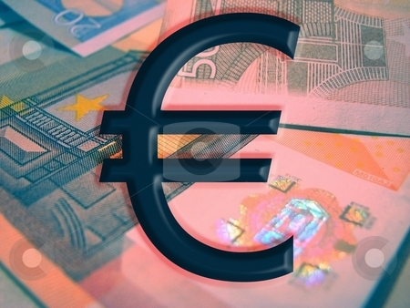 Euro stock photo, Euro mark and euro bancknotes at the background by Vadim Pats
