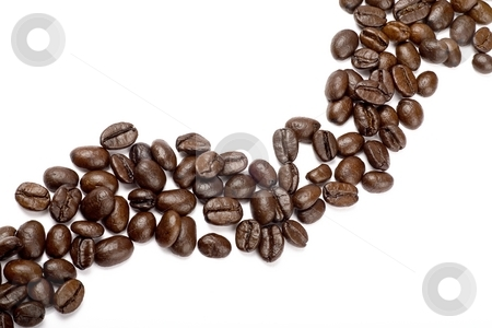 Coffee beans stock photo, String of coffee beans by Barna Tanko