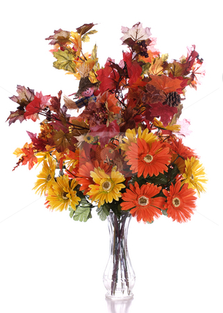 Autumn Bouquet stock photo, Artificial autumn flowers in a glass vase, isolated against a white background by Richard Nelson