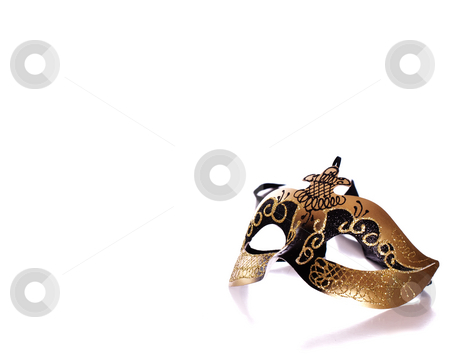 Venetian Mask stock photo, A fancy venetian mask shot against a white background with part of it's reflection in front by Richard Nelson