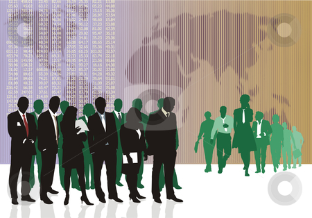 World business traders stock vector clipart, Vector illustration of old and young World traders by Čerešňák