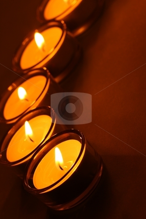 Five tea lights, dark stock photo, Five tea lights, dark background by Arnold Barna