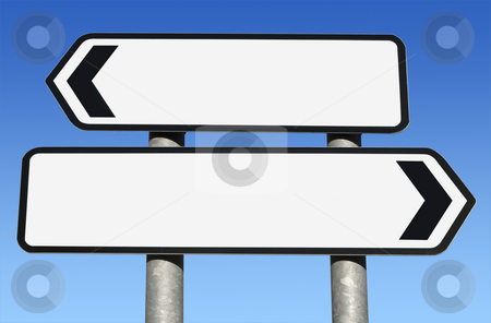 Two way blank road sign with copy space. stock photo, Two way blank road sign with copy space. by Stephen Rees