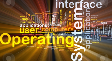 Operating system word cloud glowing stock photo, Word cloud concept illustration of operating system glowing light effect by Kheng Guan Toh