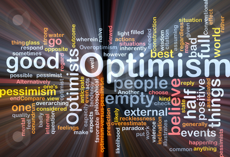 Optimism word cloud glowing stock photo, Word cloud concept illustration of optimism optimist glowing light effect by Kheng Guan Toh
