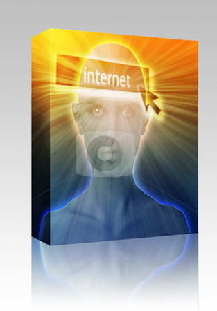 Thinking about internet box package stock photo, Software package box Woman thinking about internet clicking,floating over head by Kheng Guan Toh