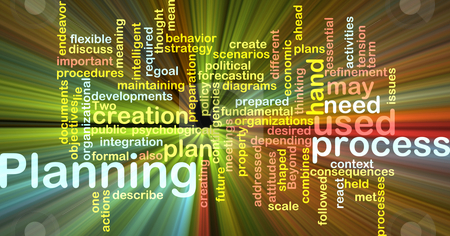 Planning word cloud glowing stock photo, Word cloud concept illustration of planning process glowing light effect by Kheng Guan Toh