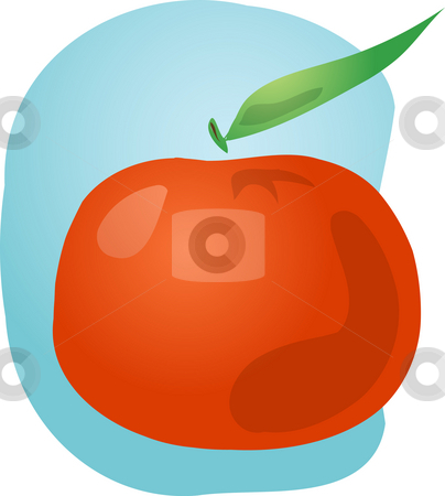 Tangerine fruit illustration stock photo, Sketch of whole fresh tangerine, fruit illustration by Kheng Guan Toh