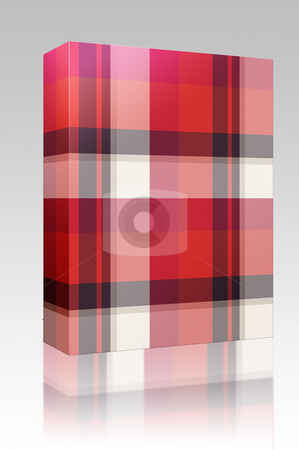Plaid tartan pattern box package stock photo, Software package box Scottish tartan plaid material pattern texture design by Kheng Guan Toh