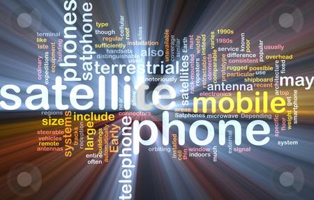Satellite phone word cloud glowing stock photo, Word cloud concept illustration of satellite phone glowing light effect by Kheng Guan Toh