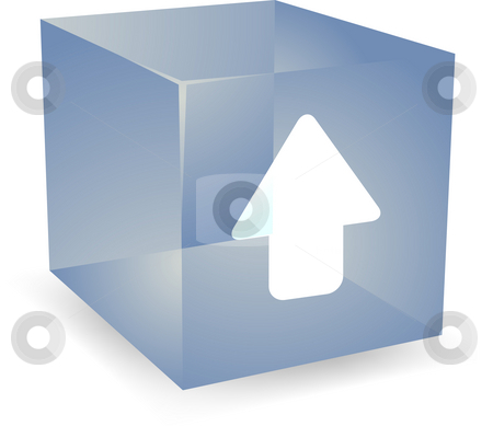 Up cube icon stock photo, Up icon on translucent cube shape illustration by Kheng Guan Toh
