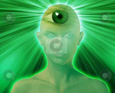 Third eye woman stock photo, Woman with third eye, psychic supernatural senses by Kheng Guan Toh