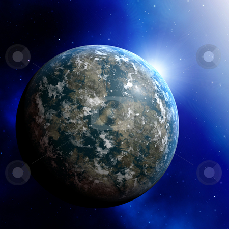 Planet earth illustration stock photo, Illustration of planet earth on colored background by Kheng Guan Toh