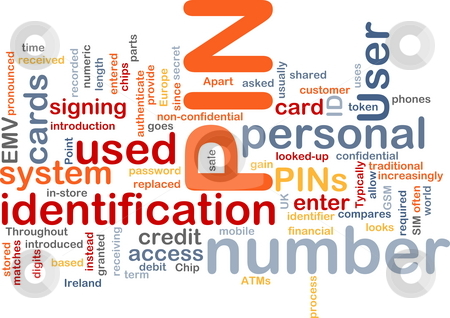 PIN word cloud stock photo, Word cloud concept illustration of Pin number by Kheng Guan Toh