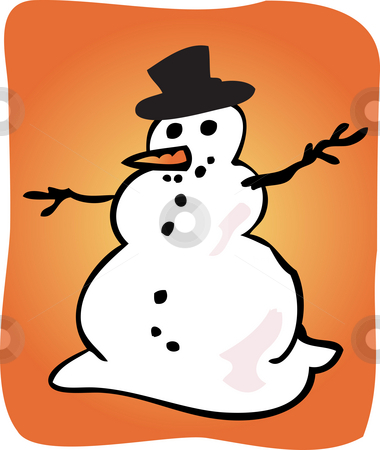 Snowman illustration stock photo, Traditional snowman with hat and carrot illustration by Kheng Guan Toh