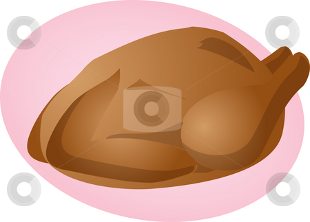Whole roast chicken stock photo, Whole roast chicken cooked food illustration clipart by Kheng Guan Toh