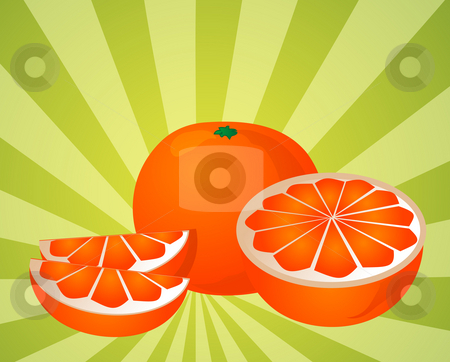 Orange sections illustration stock photo, Orange fruit, whole, halved, and sliced into sections, illustration by Kheng Guan Toh