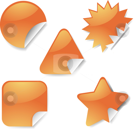 Sticker icon set stock photo, Sticker icon set, assorted blank geometric shapes by Kheng Guan Toh