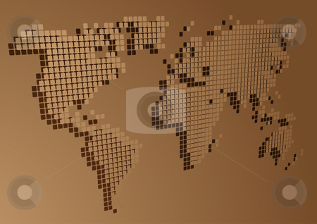 Perspective mosaic map stock photo, Map of the world illustration, perspective mosaic block style by Kheng Guan Toh