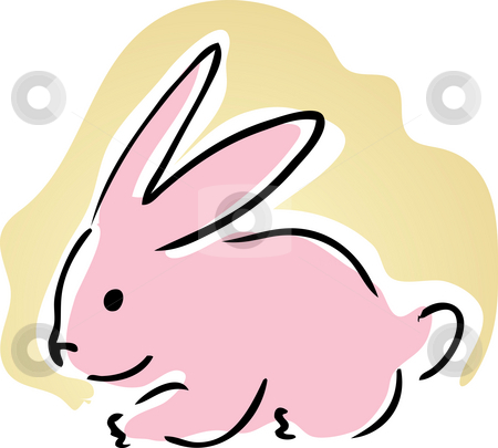 Cute bunny stock photo, Cute retro cartoon illustration of a pink bunny rabbit by Kheng Guan Toh