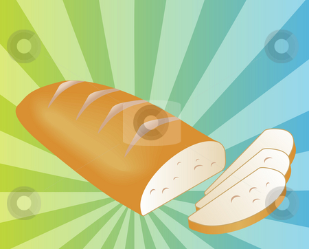 Sliced bread illustration stock photo, Illustration of a sliced loaf of bread on radial burst background by Kheng Guan Toh