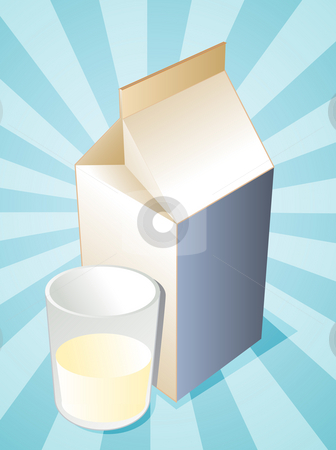Plain milk stock photo, Plain milk carton with filled glass illustration by Kheng Guan Toh