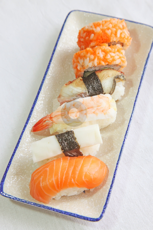 Assorted sushi stock photo, Assorted japanese sushi seafood maki rolls on plate by Kheng Guan Toh