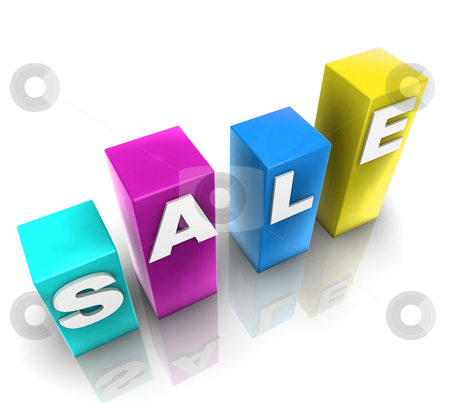 SALE cubes illustration stock photo, Glossy plastic metal cubes spelling out SALE by Kheng Guan Toh