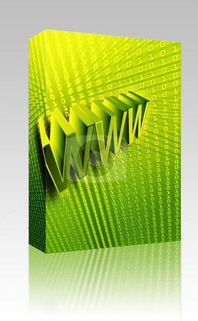 WWW Internet box package stock photo, Software package box WWW Internet 3d wording digital collage illustration by Kheng Guan Toh