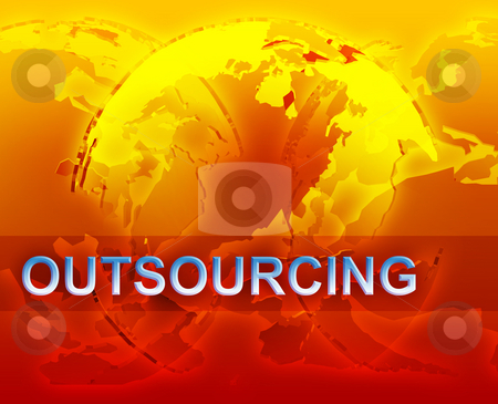 Outsourcing globalization illustration stock photo, Outsourcing globalization international free trade economy illustration with globes by Kheng Guan Toh