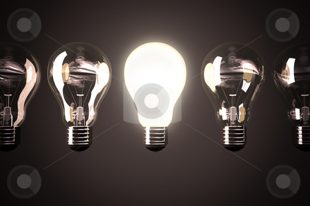 Light bulbc oncept stock photo, Five Light bulbs with one glowing bulb by Peter Lecko
