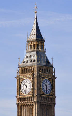 The Big Ben Tower in London stock photo, View of the Big Ben Tower in London by Karel Miragaya
