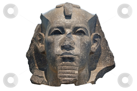 Head of a pharaoh in black stone stock photo, Head of a pharaoh in black stone isolated on white by Karel Miragaya