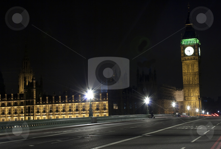 The Big Ben and Westminster Bridge at night stock photo, View of the Big Ben and Westminster Bridge at night by Karel Miragaya