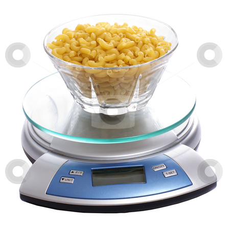 Carbohydrate Diet stock photo, A bowl of uncooked macaroni full of carbohydrates, sitting on a food scale, isolated against a white background by Richard Nelson