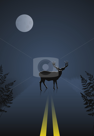 Deer crossing the road at night on sky and moon background stock vector clipart, Deer crossing the road at night on sky and moon background. Original vector illustration by L Belomlinsky