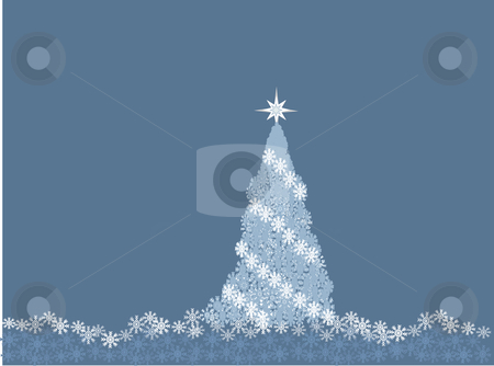 Pale blue snowflake Christmas tree on blue background stock vector clipart, Vector illustration of pale blue snowflake Christmas tree on a blue background by Rachel Gordon