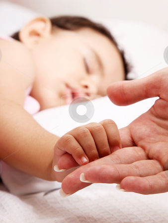 Baby stock photo, Baby sleeping take the hand of her mother by Giuseppe Ramos